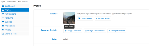 The new User Control Panel, showing the Profile management page. Note that almost all actions related to your user account are managed via this page rather than being spread across several.