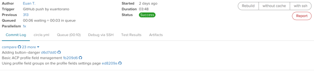 An example Circle CI build, where all of the unit tests and code style rules have passed successfully - the green badge is the one we like to see.
